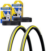 Michelin Pro 4 Endurance Clincher Road Tyre Twin Pack with 2 Free Tubes - Yellow 700c x 23mm
