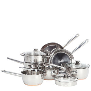 7pc Copper Base Stainless Steel Pan Set