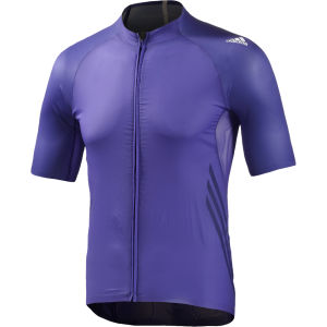 adidas Adizero Short Sleeve Cycling Jersey - Purple/White
