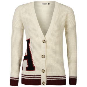 Moku Women's Boyfriend Collegic Cardigan - Cream