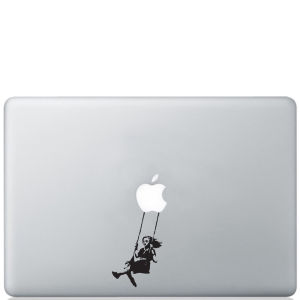 Banksy Girl Swinging Macbook Decal