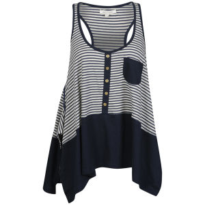 Brave Soul Women's Striped Vest - Navy