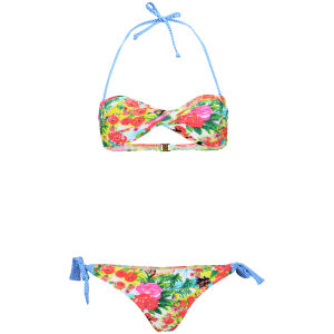 Boutique Women's Retro Twist Bandeau Bikini - Blue