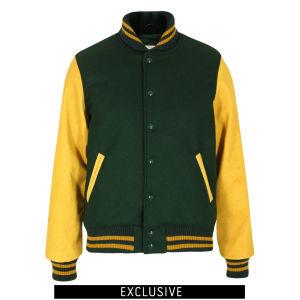 Dehen Men's Varsity Jacket - Green/Gold