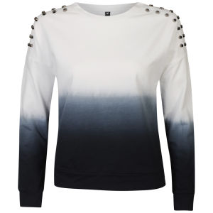 Influence Women's Dip Dye Stud Shoulder Sweatshirt - Black