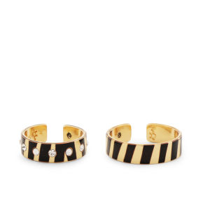 Maria Francesca Pepe Encrusted Swarovski Rings Set - Gold