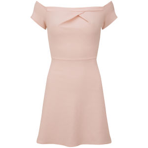 LOVE Women's Cold Shoulder Dress - Pink Waffle