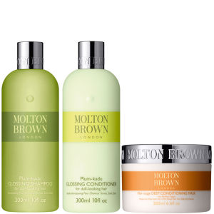 Molton Brown Plum-kadu Glossing Shampoo, Conditioner 300ml & Deep Conditioning Hair Mask 200ml (Bundle)
