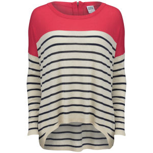 Vero Moda Women's Maddox Stripe Zip Back Jumper - Black Iris/White Asparagus