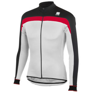 Sportful Pista Long Sleeve Jersey Full Zip - White/Black/Red