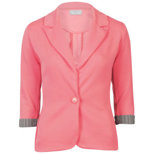 Love Sole Women's Fitted Contrast Striped Cuff Blazer - Coral