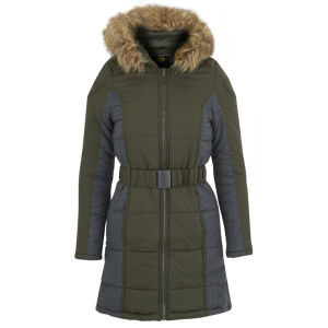 Brave Soul Women's Neema Panel Padded Coat - Khaki