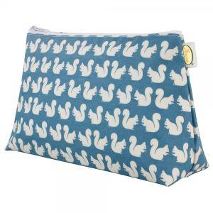 Anorak Women's Kissing Squirrels Medium Toiletry Bag - Teal/Blue/Cream