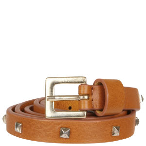 French Connection Beppe Leather Studded Belt - Tan