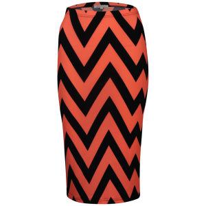 Glamorous Women's Zig Zag Neon Midi Skirt - Pink/Navy