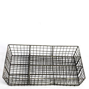 Nkuku Wire Cutlery Tray - Distressed Grey / Cream - 5 x 36 x 28cm