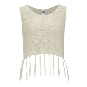 Vero Moda Women's Hazel Knitted Tassel Crop Top - Cream
