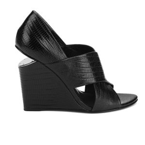 Alexander Wang Women's Ida Cut Out Wedged Leather Sandals - Black Lizard