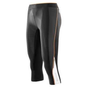 Skins A200 Women's Active Compression 3/4 Tights - Black/Papaya - Black/Orange