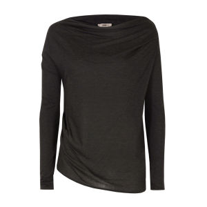 Helmut Lang Women's Kinetic Jersey Off The Shoulder Top - Dark Heather