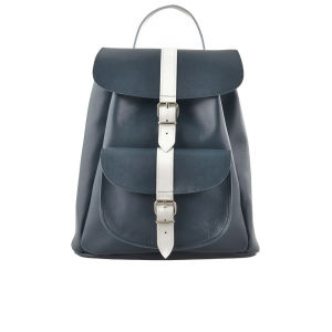 Grafea Nautical Leather Backpack - Navy