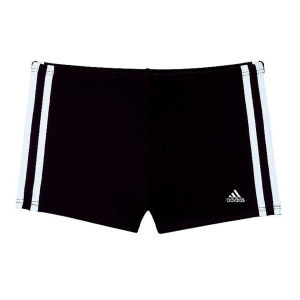 adidas Men's 3 Stripe Boxer Swim Shorts - Black/White