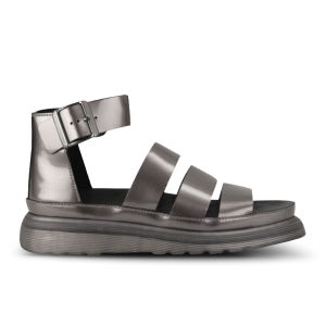 Dr. Martens Womens Clarissa Chunky Strap Patent Leather Sandals - Pewter