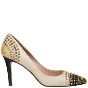Lola Cruz Women's Jewelled High Court Leather Shoes - Off White/Black