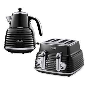 De'Longhi Scultura 4 Slice Toaster and Kettle Bundle - Black High Gloss