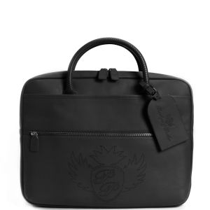 Penelope And Parker Carlito Leather Large Zip Laptop Bag  - Black