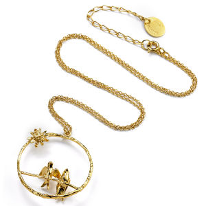 Alex Monroe  Women's Mr & Mrs Bird necklace - Gold Plated