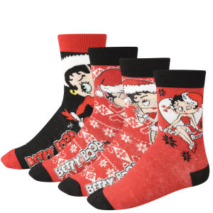 Betty Boop Women's 4-Pack Socks Gift Box  - Red and Black