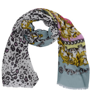 Codello Women's Winter Wonderland Leopard and Heraldic Scarf - Multi