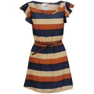 Sakura Women's Stripe Dress with Belt - Brown
