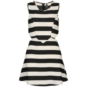 Influence Women's Striped Cut Out Skater Dress -Black/White