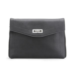 French Connection Women's Hillary Vintage PU Oversized Clutch Bag - Black