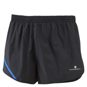 RonHill Men's Advance Racer Running Shorts - Black/Electric Blue