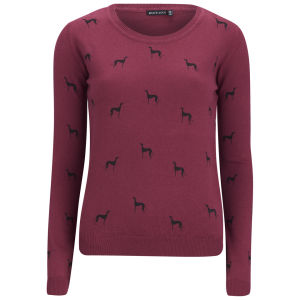 Brave Soul Women's Hound Print Jumper - Red