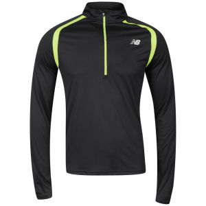 New Balance Men's 1/2 Zip Long Sleeve T-Shirt - Black/Green