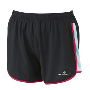 RonHill Women's Aspiration Liberty Running Shorts - Black/Aquamarine