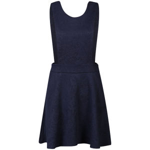 AX Paris Women's Embossed Pinafore Dress - Navy