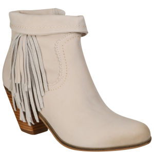 Sam Edelman Women's Louie Fringed Ankle Boots - Ivory