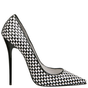 Jeffrey Campbell Women's Darling Leather Stilettos - Black & White Woven