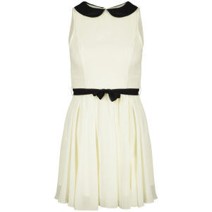 Club L Women's Peter Pan Collar Belted Dress - Cream