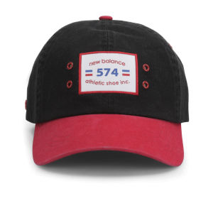 New Balance Unisex Ball Park 6 Panel Baseball Cap - Cotton Twill Black/Red