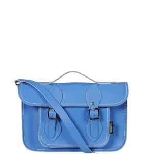 Zatchels 11.5 Inch Pastel Leather Satchel with Handle - Cornflower Blue