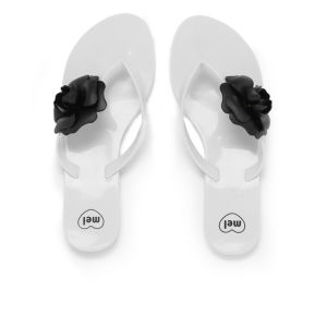 Mel Women's Honey Flower Flip Flops - White Contrast