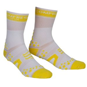 Compressport Pro Racing Socks - Bike - White/Yellow