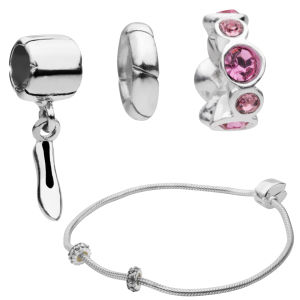 Amadora Silver Bracelet & Three Charm Set