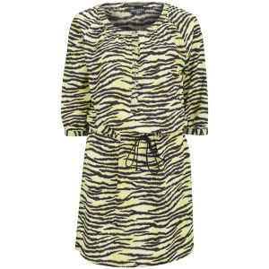 Maison Scotch Women's Zebra Silky Shirt Dress - Yellow